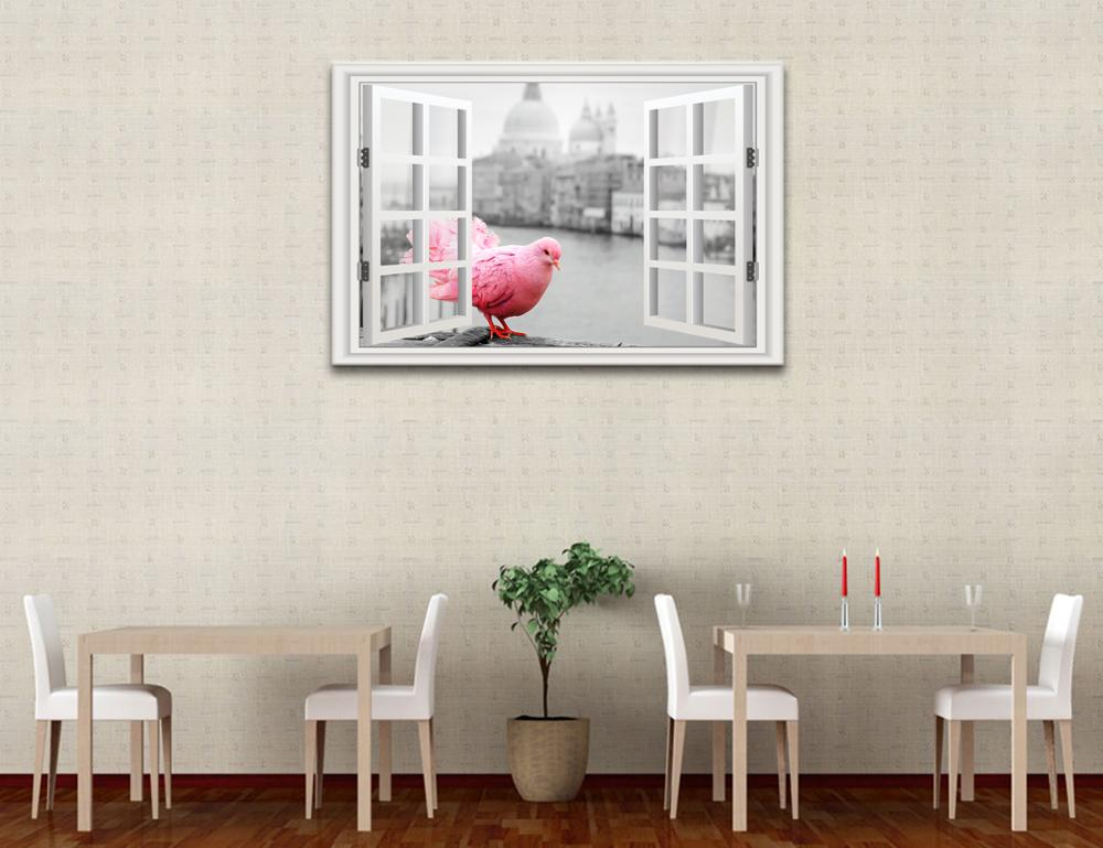 Black and White 3D Window Scenery Canvas Art Printing Red Pigeon Outside Window Canvas Wall Decor Ready to Hang on Wall