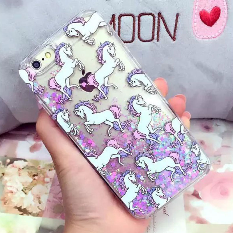 hot new glitter quicksand case unicorn horse case for iPhone 6 6s protective phone case