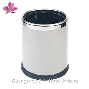 simple open top home metal trash can metal dustbin indoor wastebin office wastebasket