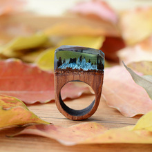Hot Exquisite Wood Rings With Miniature Landscapes In Resin Handmade Wood Ring