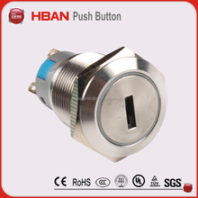 120v stainless steel push button 3 position push button switch industrial key lock power switch(19mm 22mm)