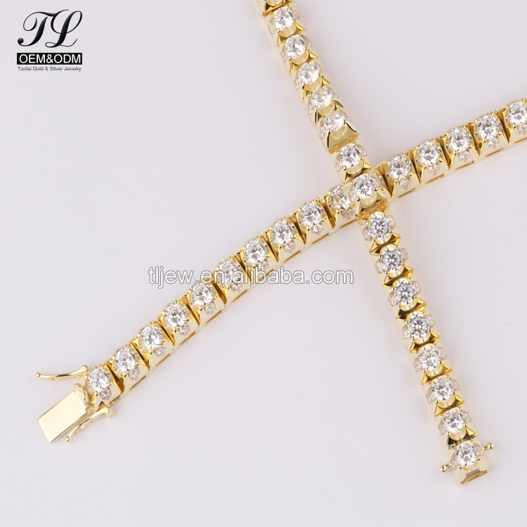 Multi metal available aluminum hip hop chain+cz necklace hip hop chain