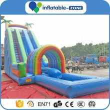 New arrival Long design sea beach Inflatable slide, giant Inflatable slide with water pool for water amusement park equipment