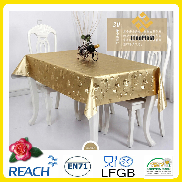 double side embossed pvc tablecloth in gold color