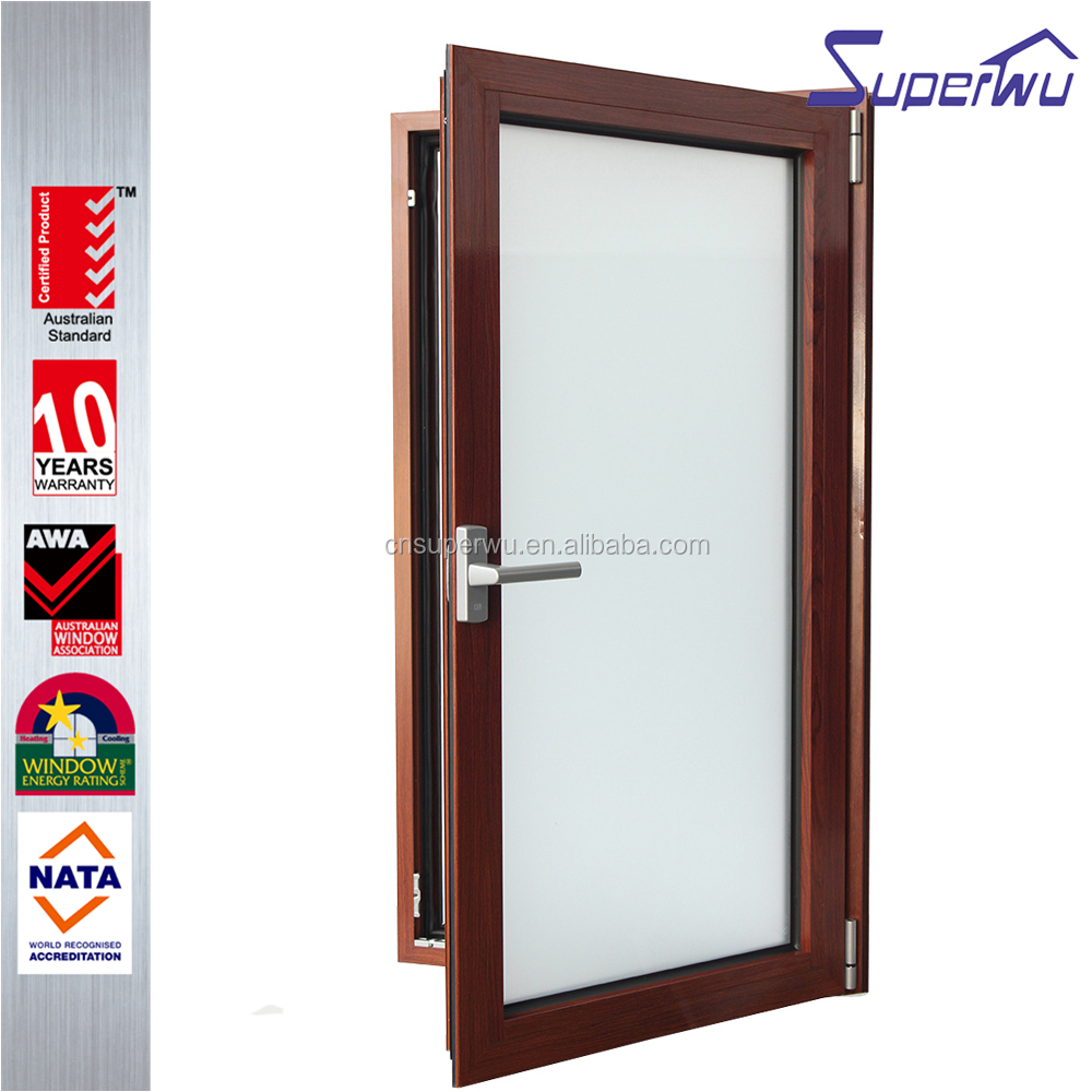Wooden grain color aluminum frame tilt and turn window with australia as2047 standard