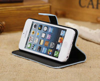 Lichee Pattern Wallet Magnetic Flip Stand Genuine Leather Case for iPhone 5C