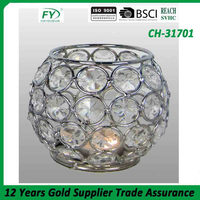 Table and wedding decoration K5 Crystal candleholder with chrome plated metal CH-31701
