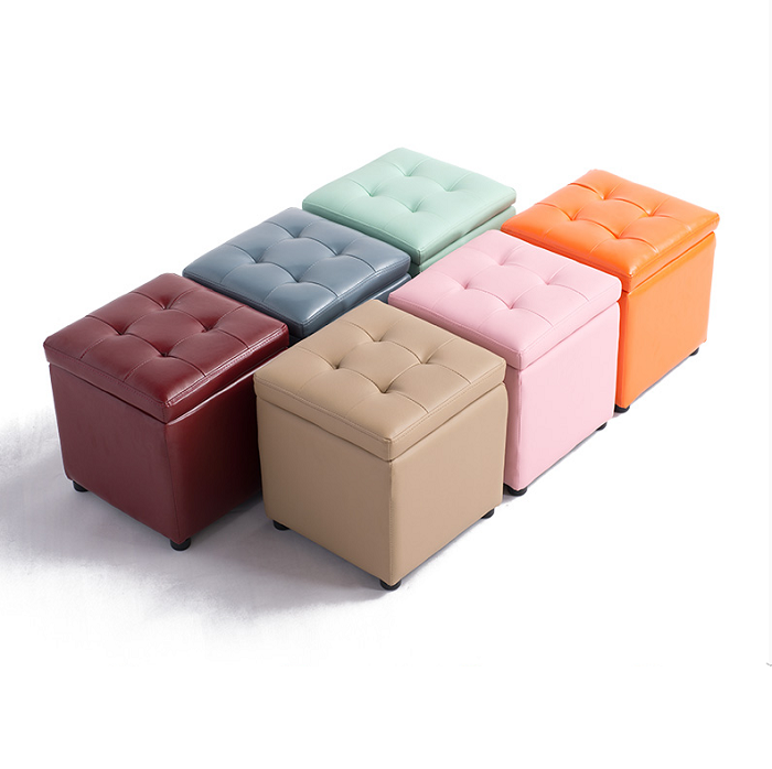Multi color Folding storage box l/leather stool / multi-function change shoe stool