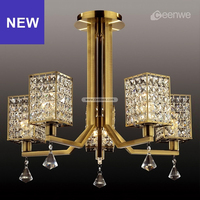K9 Crystal Chandelier Brass Finished Chandeliers UL Approval Made in Zhongshan A6-C8244-5L(AB)