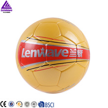 Official size and weight gold high level synthetic leather soccer balls