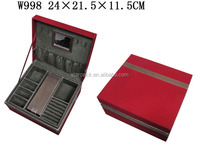 W998 Factory Custom Quality PU Leather Storage Display Jewelry Case