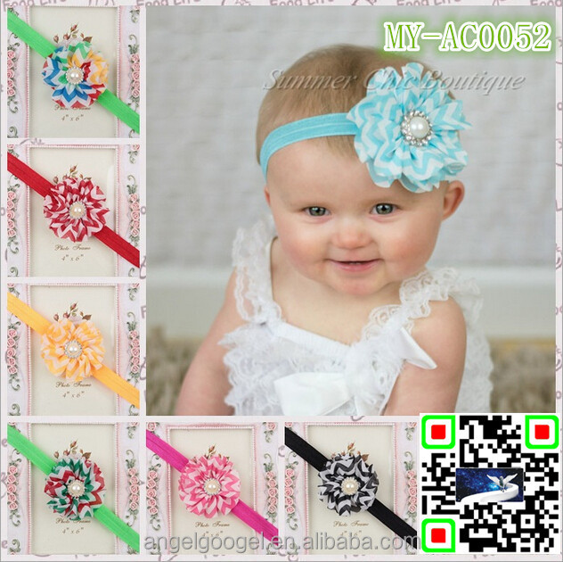 Chiffon wave brand name flower headband for kids hair accessories MY-AC0052