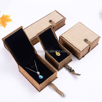 High Quality Natural Linen Fabric Paper Gift Storage Box Jewelry Bracelet Bangle Necklace Earrings Set Case Box