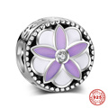 Purple and Pink Enamel Flower Large Hole 925 Sterling Silver Charm Beads For DIY European Bracelet Necklace 6pcs/lot DSP012