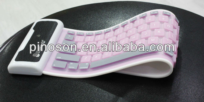 New silicone wireless bluetooth keyboard high quality Synthetic leather case