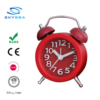 Mini Plastic Twin Bell Desk Clock With Alarm Function, Classical Two bell metal mini table alarm clock