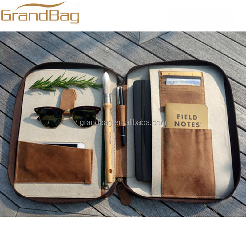 Real genuine leather travel wallet passport holder document organizer case portfolio cover for iPad Air
