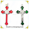 Bright color metal epoxy religious rosay parts cross pendant, catholic mini cross crucifix for wholesale,jesus christ cross pend