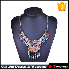 New Bohemian Statement Alloy Chain Necklaces Vintage Colorful Multi Layer Necklace for Women Style Rhinestone