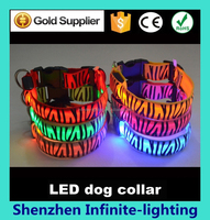 Wholesale LED Nylon Pet Dog Collar Glowing In Dark Dog Leashes And Collars