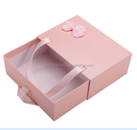 2017 Drawer Slide Cardboard Box/cardboard sliding gift box with ribbon handle