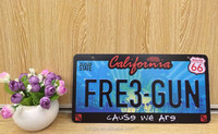 Wholesale decorative embossed route 66 American metal car license plate