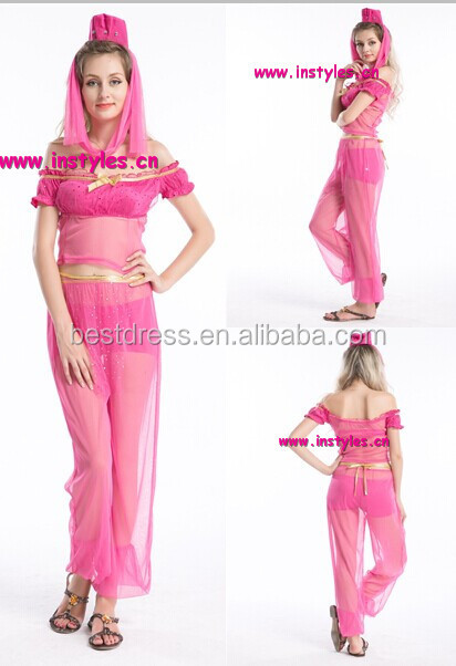 Hot pink BELLY DANCER JASMINE ALADDIN ARABIAN NIGHTS PRINCESS COSTUME
