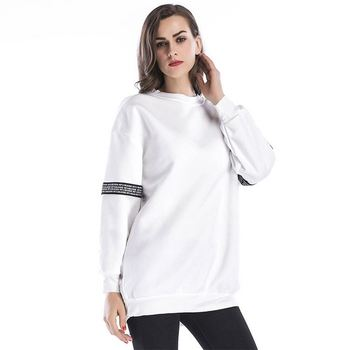 Cotton striped pullover crew neck long sleeves women sweatshirts