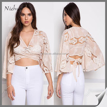 2016 Laides Sexy Beige Floral Embroidered Tie Back Crop Top