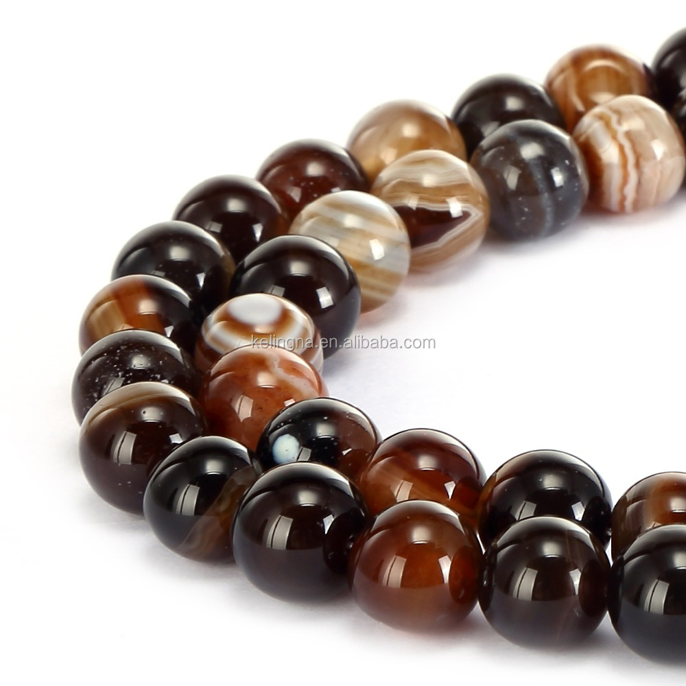 Hot Wholesale Round Gemstone Loose Beads Brown Stripe Agate Stone Agate Beads