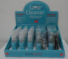 Lens cleaner kit with display