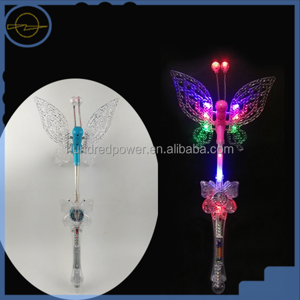 Flashing mulit-color butterfly wand with 3 functions & Light up butterfly stick,with sound