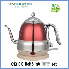 1.2L stanless steel red colour electric kettle with long mouth