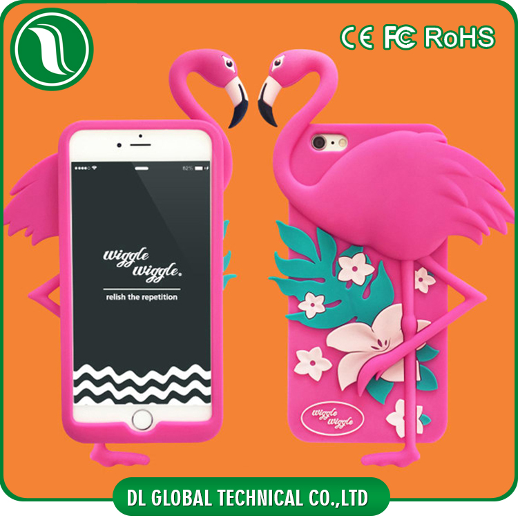 Hot new 2016 cartoon silicone mobile cover for iphone 6 flamingo shaped 3d phone cases for iphone 6s plus