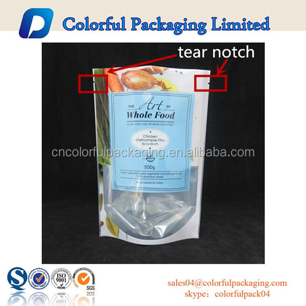 stand up pouch with zipper food grade plastic zipper bag without zip