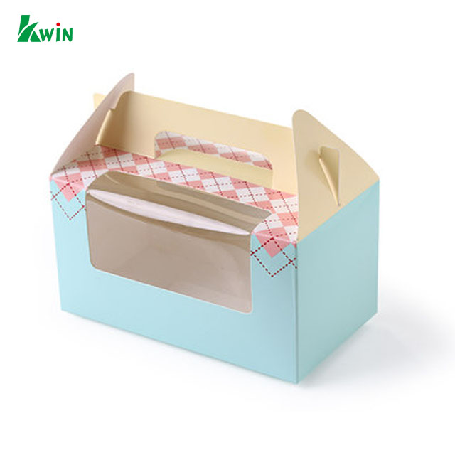 Retail Gift Color Logo Cardboard Carton Cold Cupcake Paper Food Packaging Box With Handle