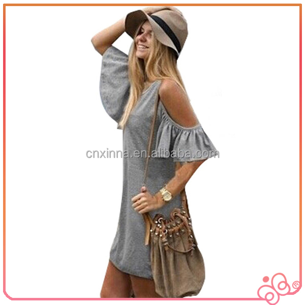 1PC New Loose Off Shoulder T-shirt Mini Dress ladies casual clothes 2014 summer