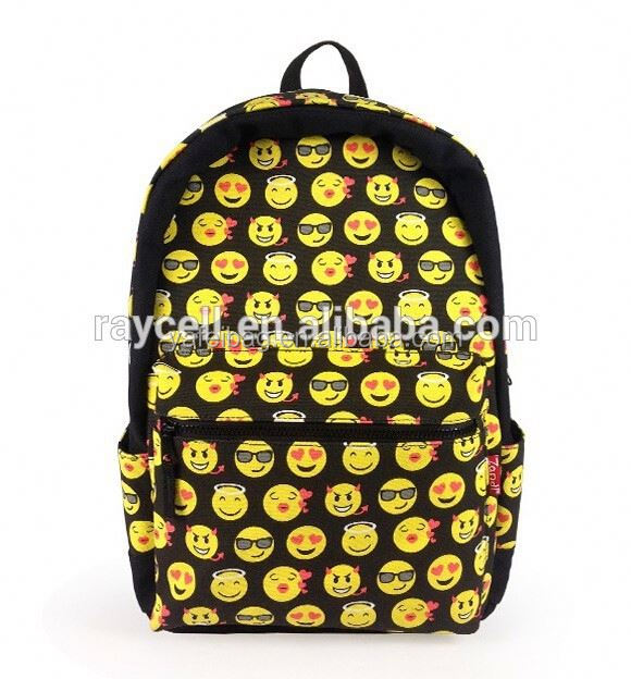 Top selling harajuku kawaii 3D emoji printing backpack / canvas school rucksack