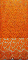 Popular Pattern Orange French Lace / African Stones Net Lace Fabric / beaded Embroidery net Lace