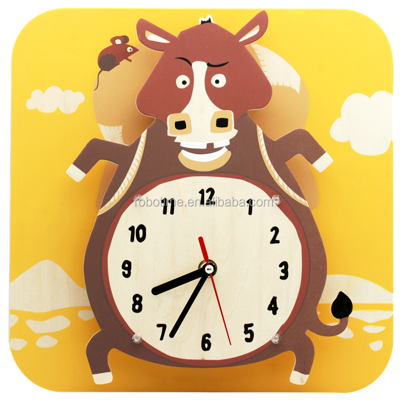 Painting Cartoon Wall Clock DIY Wooden Promotional Kids products