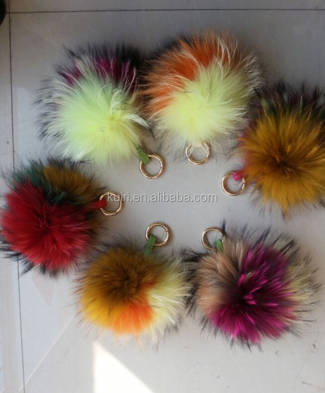 FRR-V-29 Raccoon Fur Ball/Raccoon Fur/Raccon Fur Pom Poms Keychain Key Rings