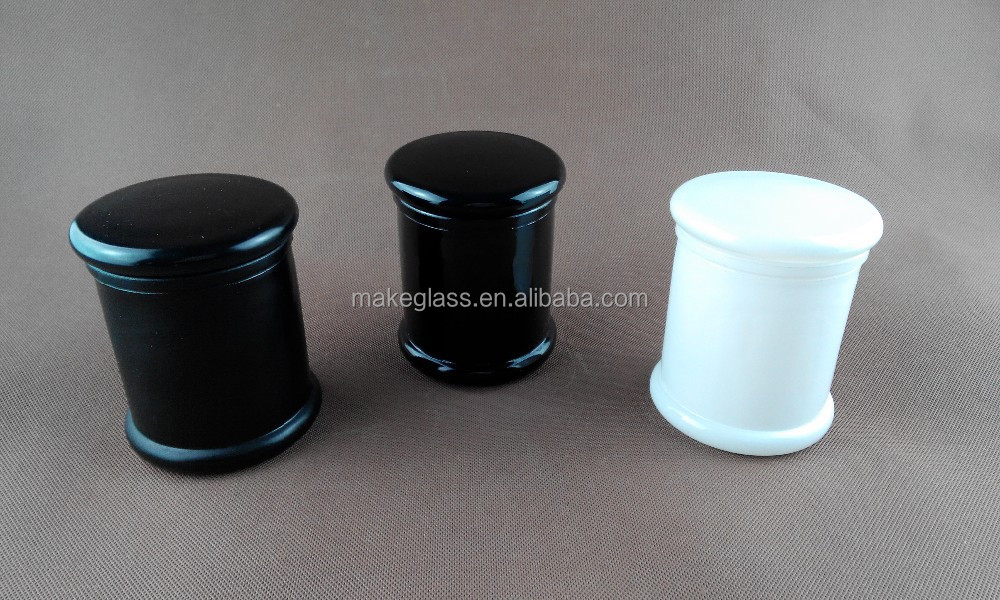 Environment friendly black and white airtight cylinder glass canister candle jar with flat glass lid