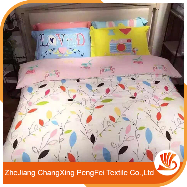 The pure and fresh bed sheet fabric designs with the leaves