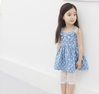 Alibaba Kid's Fashion Dress Girl's Blue Polka Dot New Design Summer Dress