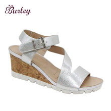 New design indian ladies high heel sandals wholesale price shinny upper women wedge shoes