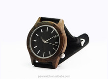Vogue men durable genuine leather watches numerals wooden wrist watch