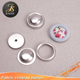 Double layer aluminum button cover with flat back for garments