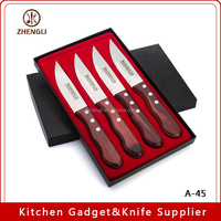 A-41 Cutlery Serrated Rounded Edge High Carbon Stainless Steel Wooden Handle Steak Knife