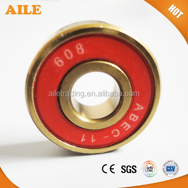 Free Shipping ABEC 11 Skateboard <strong>Bearings</strong> With Golden Color Chrome Steel
