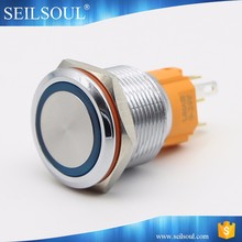 19mm illuminated waterproof push button switch momentary on-off LED metal switch